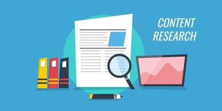Content research, development, writing, creative, information concept. Content development for online business. Flat design vector banner.