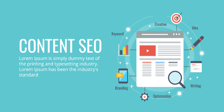 Search engine optimization for website content, content development for search result concept. Flat design seo banner.