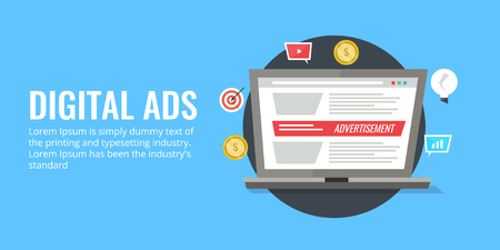 Digital ads - digital media advertising - online advertising - paid media concept. Flat design marketing vector banner.