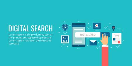 Digital search - seo, search engine optimization, mobile search concept. Flat design seo illustration vector background.