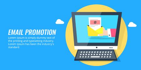 Email promotion, email marketing, businessman holding an open email. Inbox, message, notification, newsletter concept. Flat design vector banner. Ilustração