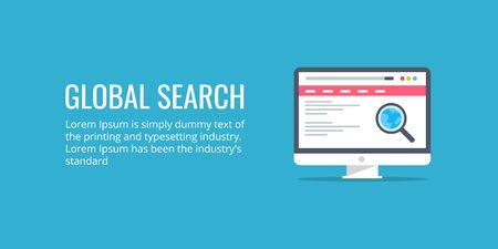 Global search, global icon, magnifying glass on a computer screen, search concept. Flat design vector banner.