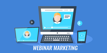 Webinar, video conference, video chat, live streaming - digital marketing concept. Flat design vector banner. Reklamní fotografie - 94853926