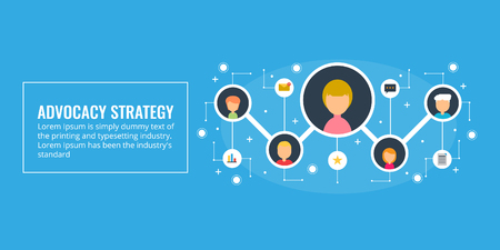 Advocacy strategy, word of mouth, offline marketing strategy concept. Illustration