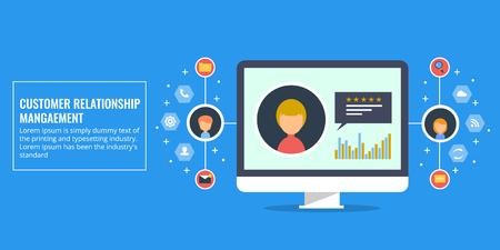 Customer relationship management - CRM  software, online communication system. Flat design vector banner.