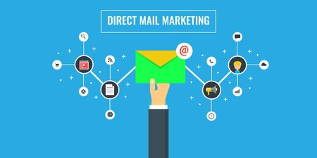 Direct mail marketing, promotion, campaign, newsletter, subscription concept. Çizim