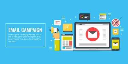 Email marketing, campaign, promotion, newsletter, subscription concept. Flat design marketing vector banner. Ilustração