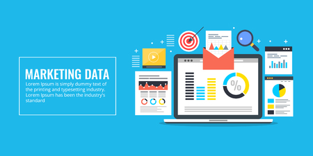 Marketing data - data driven marketing - analysis, research, report, audit. information, big data concept. Flat design vector banner.