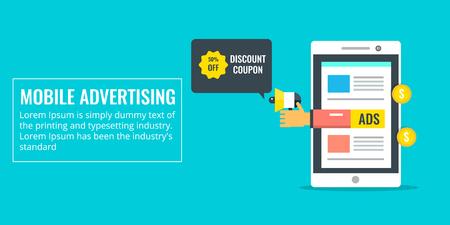 Mobile advertising - smartphone advertisement - digital media marketing - social media ads concept. Flat design vector banner. Ilustração