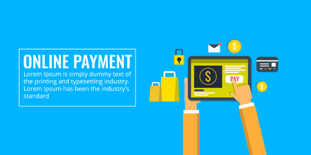 Mobile payment - online payment - internet banking. Hand using tablet for online shopping and payment. Flat design banner.