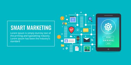 Marketing intelligent - publicité dans les médias numériques - marketing de base de clients - concept de marketing de contenu vidéo. Bannière de vecteur design plat.