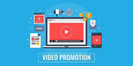 Digital video advertising, media marketing, video content promotion concept. Flat design vector banner. Ilustração