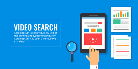 Video search - online video watching - live streaming - video browsing concept. Flat design vector banner.