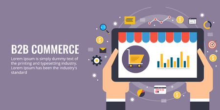 Ecommerce branding, digital marketing, b2b networking, ecommerce store sales analysis concept.