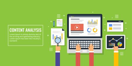 Flat design concept of content analysis, marketing report, website data analytics, audit.