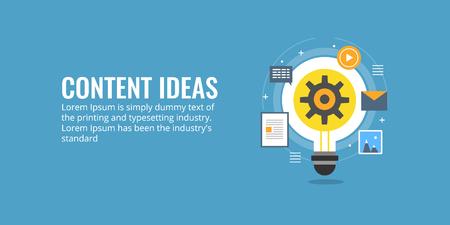 Content production, development, digital marketing, content idea, blogging flat design concept. Ilustração
