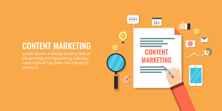 Businessman writing down content marketing plan on paper. Flat design vector banner.