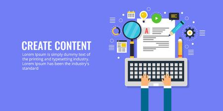Create content, copy writing, content marketing, publication, research, data, information, infographic concept. Flat design vector banner. Ilustração