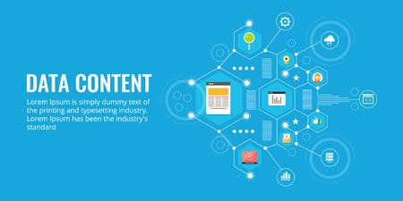 Content - data analysis, information, statistics, analytics, digital marketing report concept. Flat design vector banner.