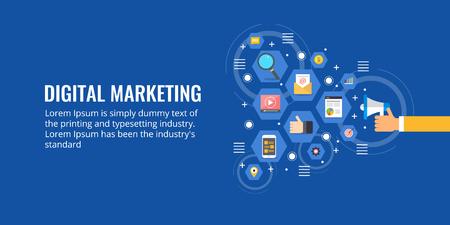 Digital marketing - internet advertising - businessman promoting online business concept. Flat design vector banner.