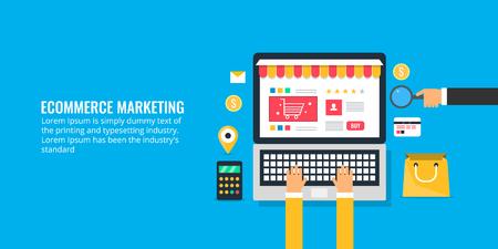 Ecommerce marketing - online business, digital marketing, online store concept. Flat design vector illustration.