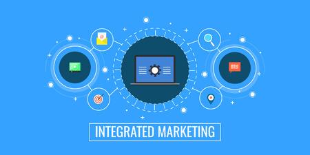 Integrated marketing, business technology communication, digital media, inbound promotion, marketing mechanism concept. Flat design vector illustration.