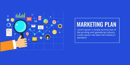 Marketing plan, business strategy, company growth, digital marketing, information technology concept. Flat design vector illustration. Ilustração