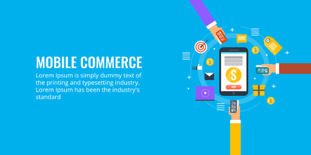 Mobile commerce, mobile shopping, ecommerce marketing via smartphone, user buying through mobile concept. Flat design vector illustration.