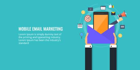 Mobile email marketing, notification, messenger marketing, hand holding big envelope concept. Flat design vector illustration. Ilustração