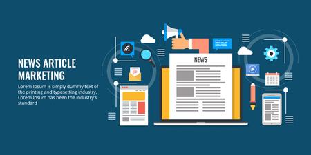News article, content marketing, blog content promotion, seo, social media, digital marketing, online magazine, ebook concept. Flat design vector banner illustration.