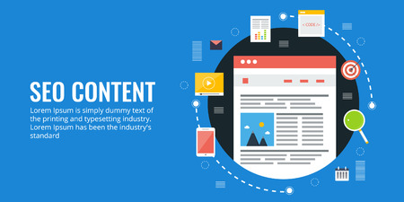 Content development for search engine optimization, website content seo, content marketing, search ranking, blogging concept. Flat design vector banner illustration. Ilustração