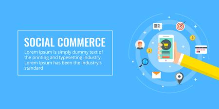 Social commerce, mobile commerce, e-commerce marketing, online shopping, digital advertising concept. Flat design vector illustration banner.