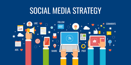 Social media strategy, digital marketing, content, business advertising on social network. Flat design vector banner.
