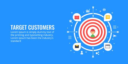 Target customer, new customer targeting, digital marketing strategy for customer attraction. Flat design vector banner.