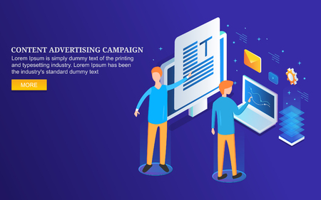 Content advertising, social media marketing campaign, data analysis, isometric design concept.