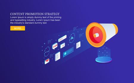Content promotion strategy. digital content marketing, seo, social media advertising, isometric design concept. Ilustração