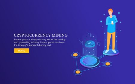 Digital currency, cypto coin, bit coin, digital money mining concept, business, finance, technology, isometric design.