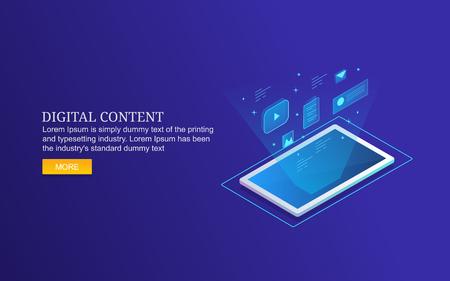 Digital content for smart device users, isometric design concept. Ilustração