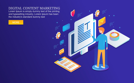 Digital content marketing, man publishing content on web, isometric design concept.