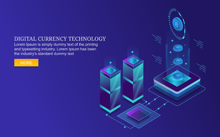 Digital currency, bit coin, crypto currency, financial, banking, money, business, technology concept.