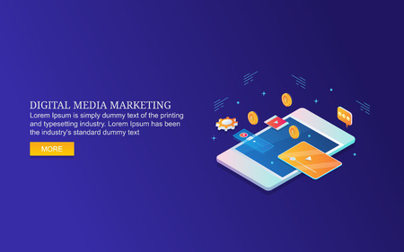 Isometric design concept of digital media marketing, video and paid advertising campaign.