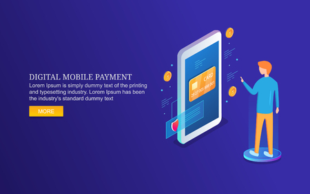 Digital payment system, mobile payment, m-commerce, man paying bill via mobile app, isometric design concept.