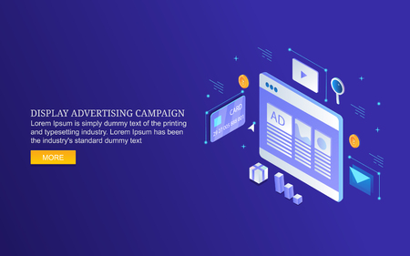 Display advertising campaign, web ads displaying on website, paid media marketing, isometric design vector banner. Illustration