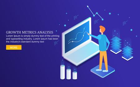 Online business growth analysis, man analyzing marketing  data, information, isometric design vector banner. Ilustração
