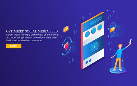 Man interacting with mobile phone, social media optimization, networking, communication, isometric design concept. Ilustração