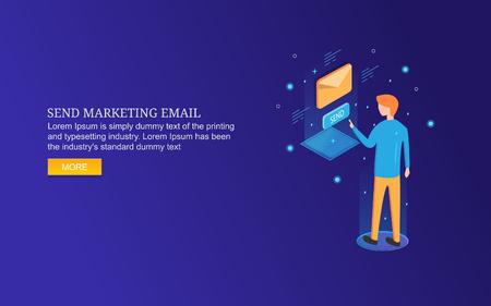 Isometric design concept of email marketing, businessman sending newsletter to subscribers. Ilustração