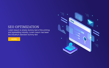 Isometric design concept of search engine optimization.