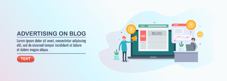 Blog advertising, paid media advertising, search engine marketing concept, flat design vector illustration.