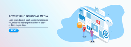 Isometric design concept of social media advertising, digital marketing, business technology.