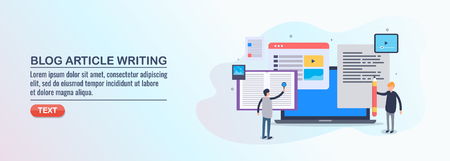 Blog content research, content writer developing article for commercial blogging, social media, networking, flat design vector illustration.